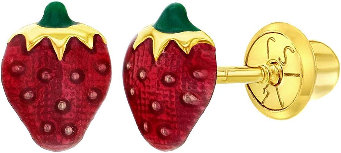 14k Yellow Gold New Baby Earrings Enamel Red Strawberry little Small Back Screw