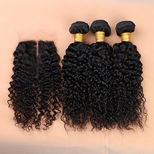 Slove hair Brazilian Vigin Human Deep Curly Hair 3 Bundles with Silk Base Closure Middle Part to Make a Full Wig for Black Women Size 14 16 18 Closure 12