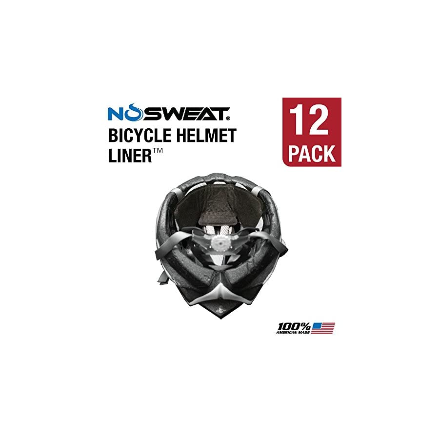 NoSweat Bike/Cycling Helmet Liner Moisture Wicking Sweatband Absorbs Dripping Sweat (Hypoallergenic, Thin, Soft & Lightweight)