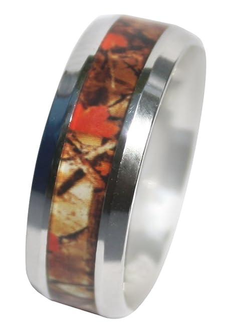 camo ring for men women guaranteed 8mm wild amber blaze orange camo ring - Orange Camo Wedding Rings