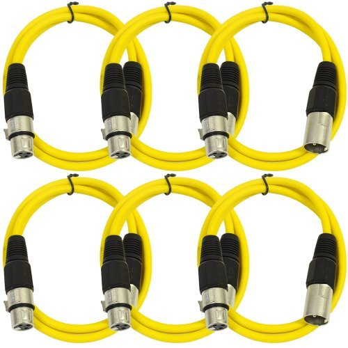 SEISMIC AUDIO - SAXLX-3 - 6 Pack of 3' Yellow XLR Male to XLR Female Patch Cables - Balanced - 3 Foot Patch Cords