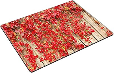 MSD Place Mat Non-Slip Natural Rubber Desk Pads design 23306239 Red plants on brown wooden fence