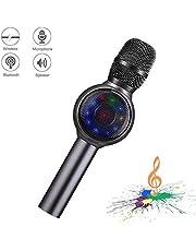 Micrófono inalámbrico karaoke Bluetooth, NINE CUBE 3-en-1 Micrófono de mano portátil Karaoke, Regalos para amigos y niños.