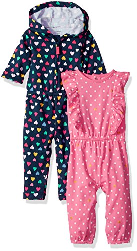 Carter's Baby Girls' 2-Pack One-Piece Romper, Navy Heart/Pink Dot, 9 Months