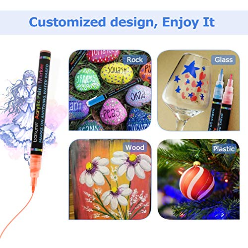 12 Colors Acrylic Paint Marker Pens for Rocks Painting Glass Stone Wood Metal Ceramic Canvas Plastic Mug DIY Craft Projects, Fabric Markers Kit with Fine Tip, Water Based Premium Waterproof Permanent