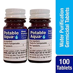 Potable Aqua Water Purification Treatment - Portable Drinking Water Treatment for Camping, Emergency Preparedness, Hurricanes, Storms, Survival, and Travel (100 Tablets)
