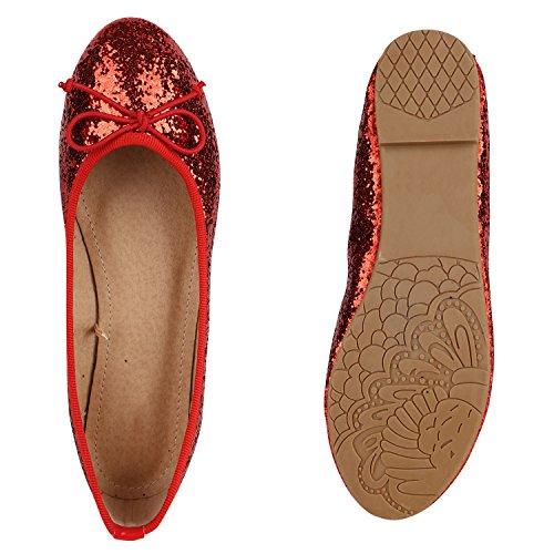 Stiefelparadies Damen Ballerinas Lack Zierperlen Flats Muster Velours Leder-Optik Schuhe Schleifen Glitzer Ballerina Flandell Rot Glitzer