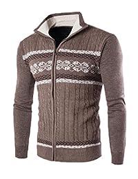 Comfy Men Classic Turn-down Collar Print Full-Zip Knitting Cardigan