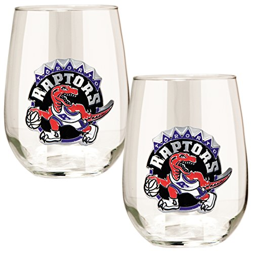 NBA Toronto Raptors Stemless Wine Glass Set (2-Piece), 15-Ounce, Clear (Wine Glasses Toronto)