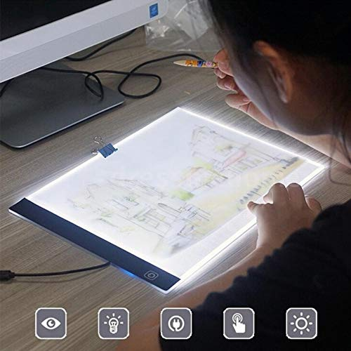 (A4 LED Painting Tracing Board Copy Pad Panel Drawing Tablet Art Artcraft Stencil 2018 White)