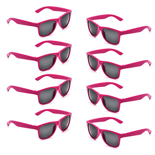 Neon Colors Party Favor Supplies Unisex Sunglasses Pack of 8 (Hot Pink) -