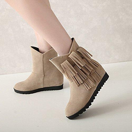 Mee Shoes Damen hidden heels Quasten Nubukeleder Stiefeletten Beige