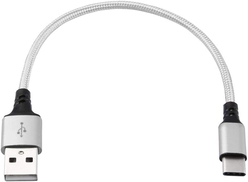 Heaviesk L/ínea de datos de Fibrin Twist de 0.25 m L/ínea de datos de m/úsica de datos cortos Tipo C Cable de datos L/ínea de carga de aleaci/ón de aluminio sobre 2A para Letv