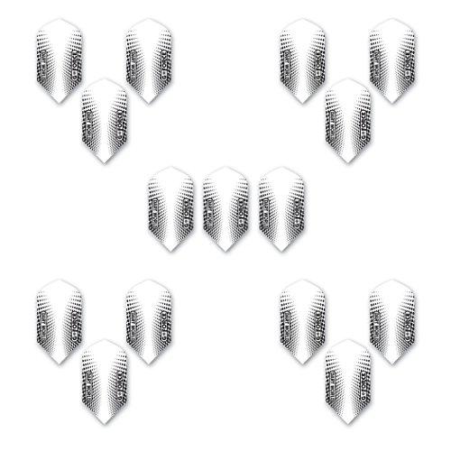 Dart World Gforce 51225 Slim Shape White/Black Flights (5 Sets of - Flights Slim White