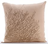 """Designer Beige Shams, Jute Tree Branch Pillow Shams, 24""""x24"""" Pillow Shams, Square Cotton Linen Shams, Contemporary Pillow Shams - Jute Drought"""