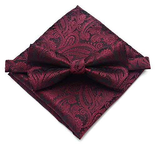 Vest Print Silk (Secdtie Men's Wine Red Bow Tie Pocket Square Set Paisley Jacquard Woven Cravat)