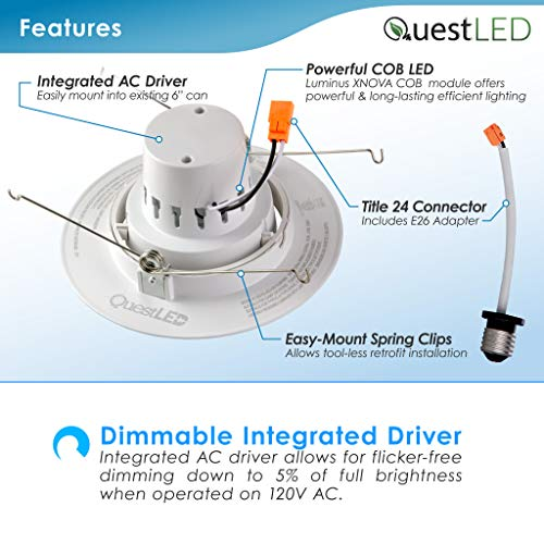 5/6'' inch LED Gimbal Adjustable Rotating Downlight White Trim 16.5W= (100w Equivalent) Damp Location Rated; 25,000 Life Hours; Dimmable to 5%; 5 YR Warranty; 1200 Lumens; Cool White 4000K- (16 Pack) by QUEST MANUFACTURING (Image #4)