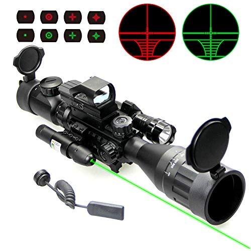 UUQ 4-16x50 Tactical Rifle Scope Red/Green Illuminated Range Finder Reticle W/RED(Green) Laser and Holographic Reflex Dot Sight (12 Month Warranty) 4-16X50 W/Green Laser & Flash Light (Best Small Rifle Scope)