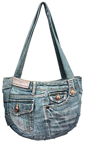 Bdj Upcycling Plait Blue Denim Jean Hobo Shoulder Top Handle Handbag (plait Bag 3) Dmb-135-137