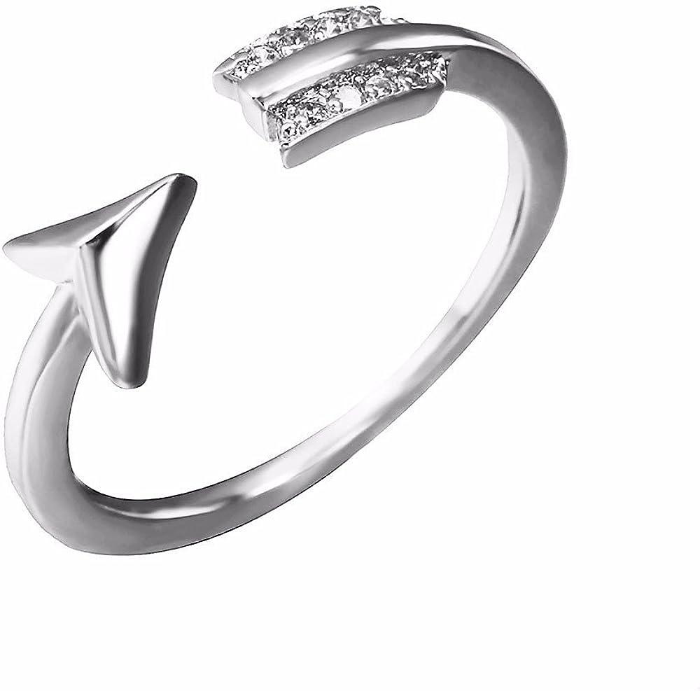 T-CMKJ Anillo Apertura de la flecha ajustable del anillo con el anillo de diamantes, plata
