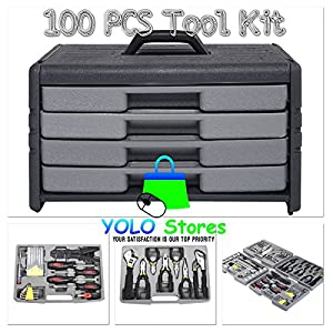 Multi Tool Kit 100Pcs Mechanic Garage Set Repair Box Tools w/ Case and Drawers Vehicle, Home, Pro, e-Book Included By YOLO Stores