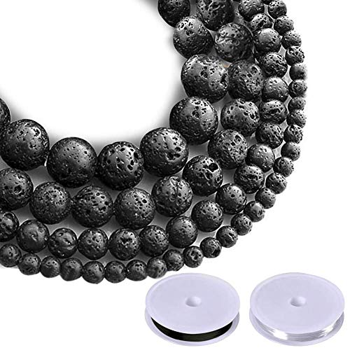 Paxcoo 500pcs Lava Beads Black Lava Rock Beads Kit with Elastic String for Essential Oils Adult Jewelry Making Supplies Bracelets ()