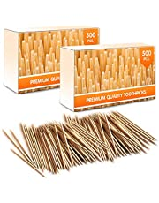 Premium Bamboo Wooden Cocktail Toothpicks - Personal Hygiene, Disposable Appetizer Skewers, Cocktail Sticks or Arts & Crafts - 1000 Pieces (2 Tubs of 500 Pieces) Mobi Lock