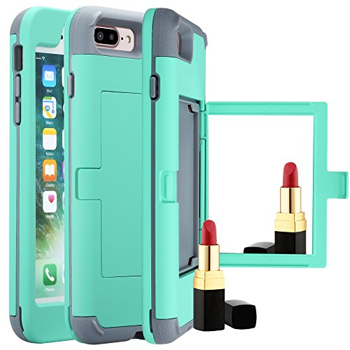 Cheap iPhone 7 Plus Wallet Case,iPhone 7 Plus Case with Card Holder,Kudex Makeup Mirror Stylish Slim Shockproof Hybrid Protective Bumper Purse Dual Layer Shell Cover with ID Slots&Hidden Pocket (Mint)