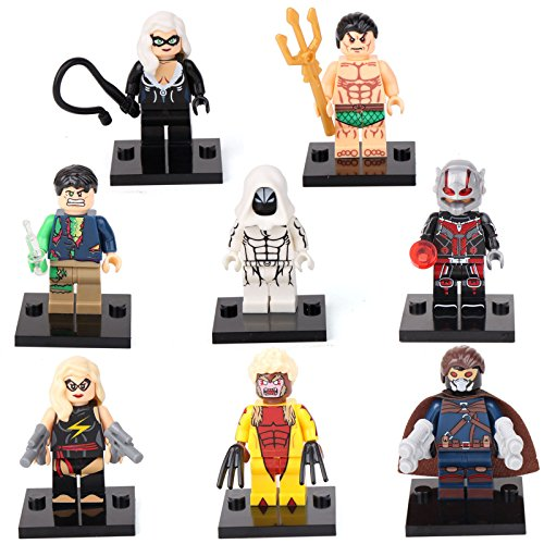 Female Action Hero Halloween Costumes (gonggamtop Superhero Moon Knight Namor Sabretooth 8 Mini figures Building Bricks Toys)