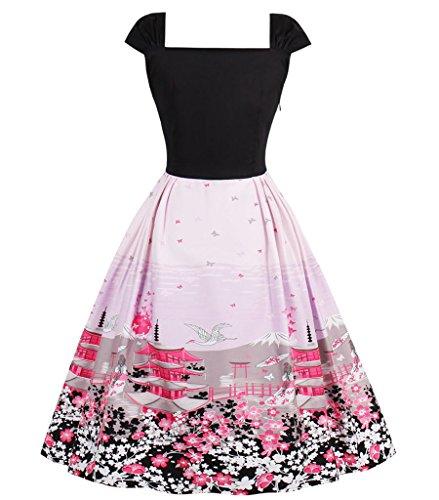 Retrò Più Aecibzo Nero Partito Da Oscillazione Donne Formato Abito Rockabilly rosa Vestito 1950 Vintage 1qIfwPq