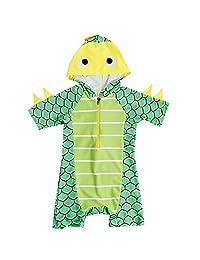 ACHIYI Baby Boys One Piece Hoodie 3D Dinosaur Swimming Costume Zipper Bathing Suit Swimwear Rash Guard UPF50+