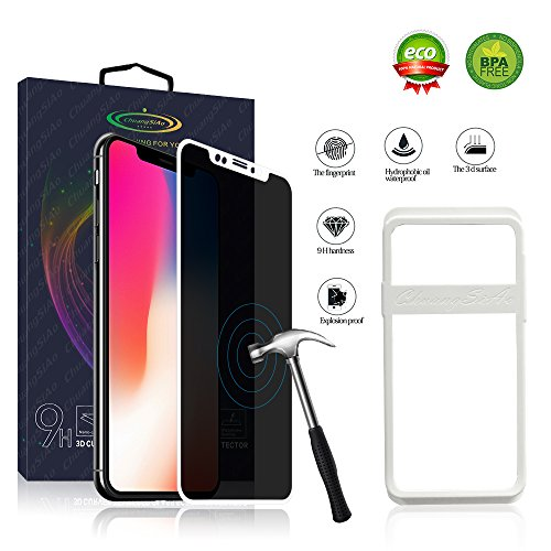 ChuangSiAo Screen Protector Compatible iPhone X for iPhone X Screen Protector Privacy Anti-Fingerprint【with Installation Tools】 White 9H 【3D Touch Accurate】 iPhone X Tempered Glass Screen Prot