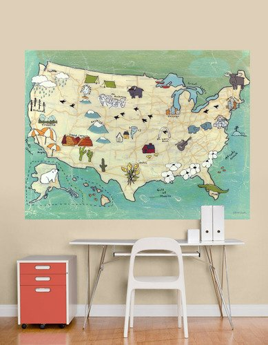 Oopsy Daisy Murals - Oopsy Daisy That Stick Camp USA by Rachel Austin Murals, 72 by 54-Inch