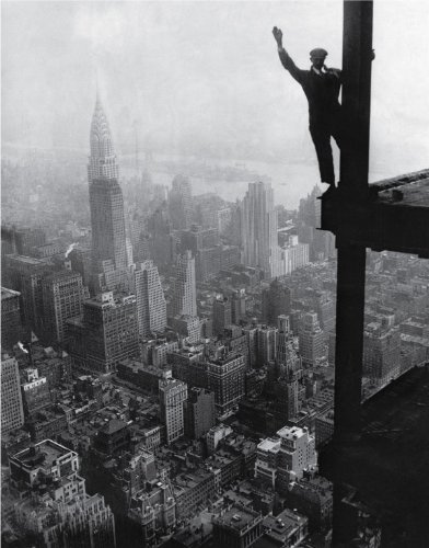 Man waving from Empire State Bulding Construction Site 1930, 1930 - Vintage Photo Art Print (10