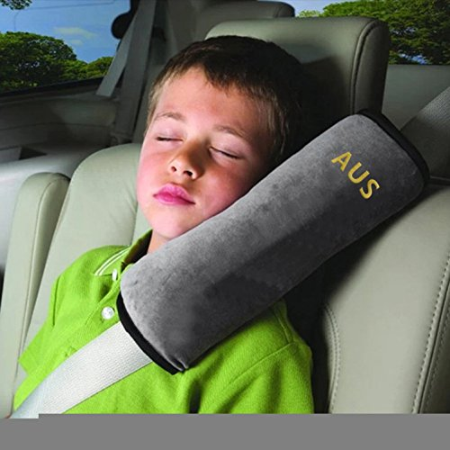 Seatbelt Pillow,Car Seat Belt Covers for Kids,Adjust Vehicle Shoulder Pads,Safety Belt Protector Cushion,Plush Soft Auto Seat Belt Strap Cover Headrest Neck Support for Children Baby Adult (Gray)