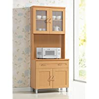 Excellent Tall Kitchen Cabinet, Gives You Plenty of Storage Combined with Style Thanks to its Unique Design, Features Two Transparent and One Solid Cabinet Door, Beech + Expert Guide