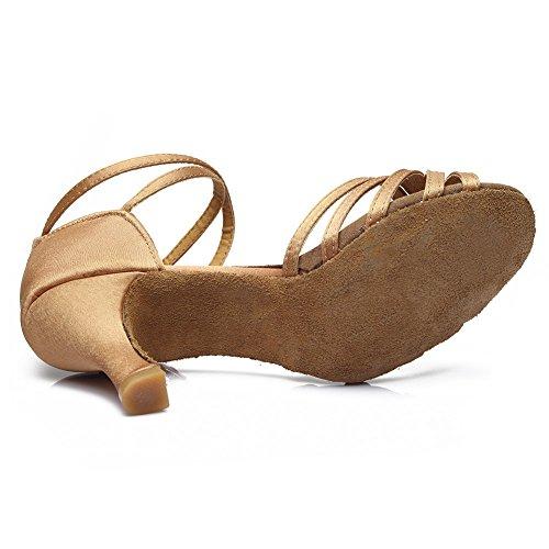 ... Latin Tanzschuhe Modell 213 D7 Satin Schuhe Beige Dance Hroyl Ballsaal  Damen 7cm WRqFFT ...