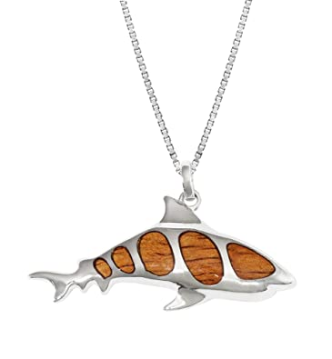 Amazon sterling silver koa wood shark necklace pendant with 18 sterling silver koa wood shark necklace pendant with 18quot aloadofball Gallery