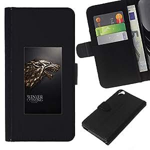 NEECELL GIFT forCITY // Billetera de cuero Caso Cubierta de protección Carcasa / Leather Wallet Case for HTC Desire 820 // Winter is Coming Lobo Stark