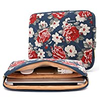 KAYOND Blue Rose Patten Canvas Water-Resistant 15.6 inch Laptop Sleeve