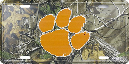 Clemson (Tigers) Realtree Camo Metal Tin License Plate