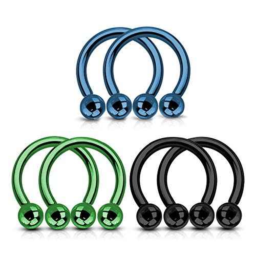 Anodized Titanium Barbell - 16G FifthCue 3 Pairs Titanium Anodized Blue,Green and Black Horseshoe 316L Surgical Steel Circular Barbell - Choose Size (16G | 5/16