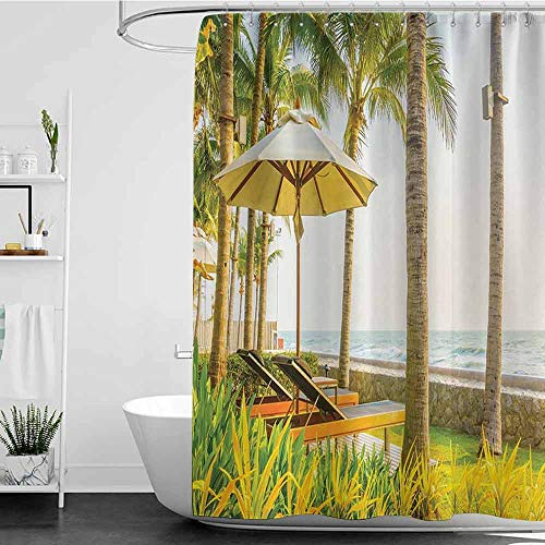Bensonsve Shower Curtains White Design Seaside Decor Collection,Palm Trees Umbrella and Chair Around Swimming Pool in Hotel Resort Picture Print,Yellow Green Blue W48 x L84,Shower Curtain for Men