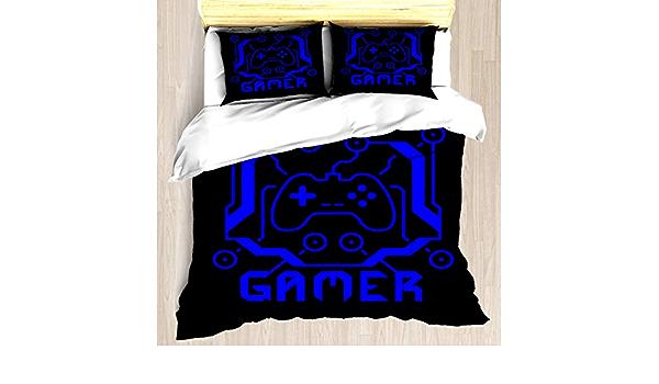 Ntcbed Blue Circuit Gamer Duvet Cover Set Soft Comforter Cover Pillowcase Bed Set Unique Printed Design Duvet Covers Blanket Cover Queen Full Size Home Kitchen