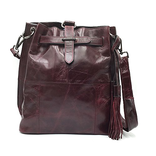 Women Sheli Drawstring Brown for Handbag Unique Purple Western Convertible Fringe Hobo Backpack Purse Design Crossbody Leather 61fwT