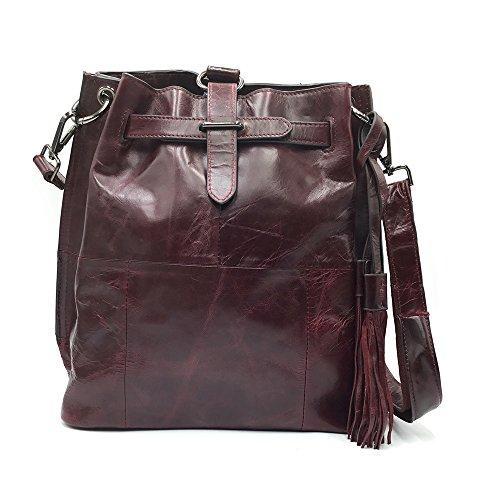 Sheli Marrón Diseño único Fringe Convertible Cuero Hobo Cordón Crossbody Occidental Bolso mochila para las Mujeres Púrpura