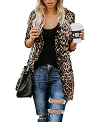 31b6580af Women s Lightweight Long Sleeve Leopard Print Button Down Shirt ...