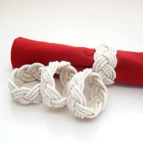 Nautical Sailor Knot Napkin Rings Natural White Set of 4