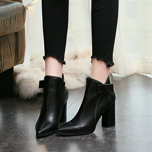 Plus Boots Martin Leather British Pointed Commute Style KPHY Bow Heels Black Black Boot Rough Are Boots Velvet With wqE7nAfSx