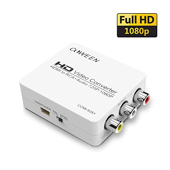 Amazon Com Coween Hdmi To Rca Converter Box Mini 1080p From Hdmi To